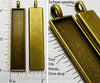 10x50x2mm Long Rectangle Pendant Tray Bronzetone