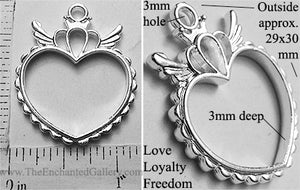Open Back Heart with Crown and Wings Pendant 29mm x 30mm x 3mm Love Loyalty Freedom Silvertone