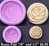 Flexible Push Mold Set Mackintosh Roses Buttons Pair