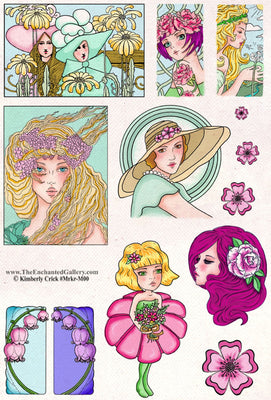 unmounted rubber stamp set women art nouveau copic marker coloring anime