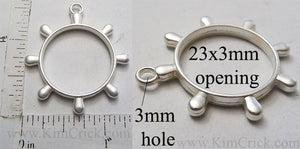 Open Back Boat Steering Wheel Pendant 23mm x 3mm Matte Silver