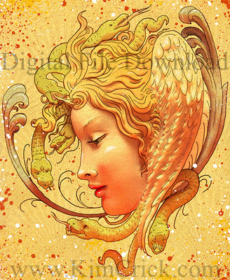 Digital File - Medusa Greek Goddess Artwork Color Clip Art Download