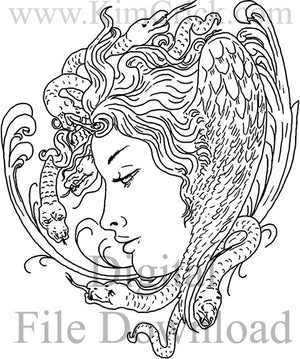 Digital File - Medusa Greek Goddess Line Drawing Artwork Clip Art Download