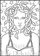 Digital File - Medusa Star Background Line Drawing Artwork Clip Art Download