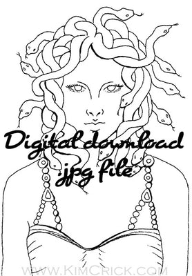 Digital File - Medusa Greek Mythology Printable Clip Art Coloring Book Page Digi Stamp Line Drawing