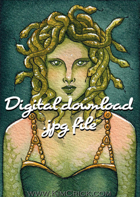 Digital File - Medusa Greek Mythology Cursed Goddess Snake Watercolor Painting Printable Art