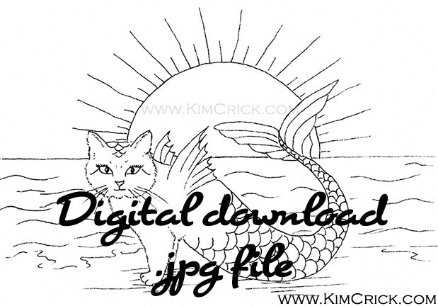 Digital File - Mercat Mermaid Cat Purrmaid Ink Black and White Line Art Drawing Coloring Book Practice Printable