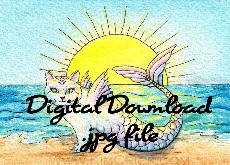 Digital File - Mercat Mermaid Cat Purrmaid Colorful Nursery Watercolor Painting Printable