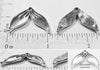 Mermaid Tail Fin Bead Silvertone Charm w/Top Hole (6 Pieces)