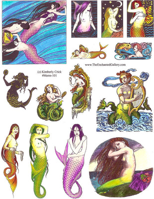 Unmounted Rubber Stamp Set Mermaids #Merm-101