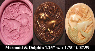 Flexible Push Mold Mermaid with Dolphin Friend Cameo