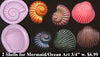 Flexible Push Mold Seashell Spiral and Clam Pair