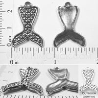 Mermaid Tail Silvertone Charm w/Top Loop (6 Pieces)