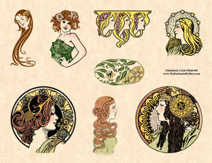 Unmounted Rubber Stamp Set Miniature Art Nouveau #Mini-001