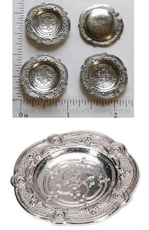 Mini Doll House Elegant Pewter Serving Tray Plates Silver Color 4 Piece Set
