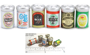 Miniature Beer Cans Mini Food Drink Doll House 6 Piece Set