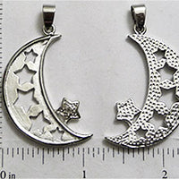 Open Back Moon And Stars With Bail 32mm x 11mm x 2mm Silvertone Frame Jewelry Pendant