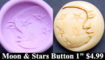 Flexible Push Mold Moon and Stars Carved Button