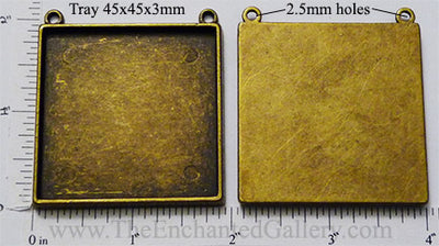 45x45x3mm XL Square with Duo Top Connector Loops Pendant Tray Bronzetone