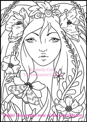 Adult coloring book clip art fairy nature flower butterfly moth poppy girl woman art nouveau