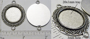 20mm Circle Connector Link Pendant Tray Mum Petal Border Antiqued Silver (Select Amount or Optional Insert)