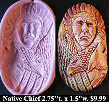 Flexible Push Mold Native American Chief with Spirit Animals