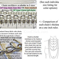 "24"" Thin Style 2mm Rolo Chain Necklace (Select a Color, Quantity)"