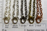 "24"" Standard 3mm Thick Rolo Chain Necklace (Select a Color, Quantity)"