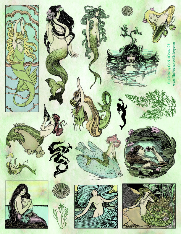 Unmounted Rubber Stamp Set Ocean Mermaids #Ocea-123