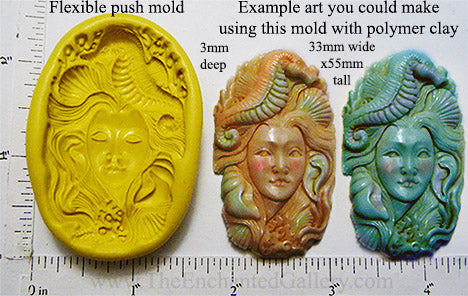 Flexible Push Mold Ocean Spirit with Seahorse and Shells