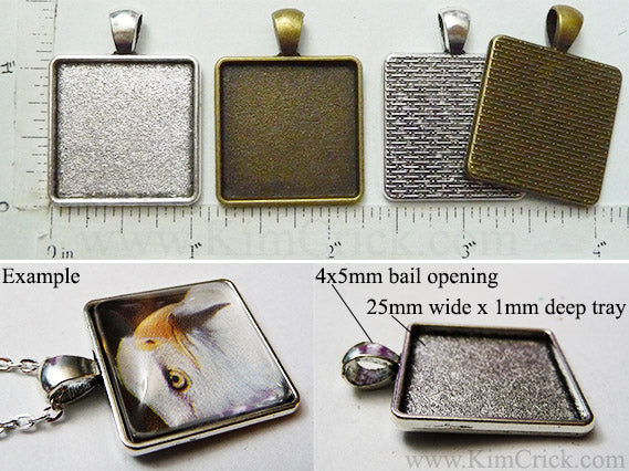 25mm Square Curved Corners Texture Blank Pendant Tray (Select a Color or Optional Insert)