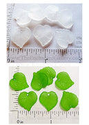Frosted Acrylic Translucent One Sided Heart Leaf Bead Charms 15mm (Select a Color)