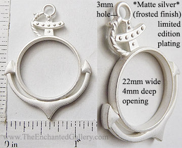 Open Back Anchor Pendant 22mm x 22mm x 4mm Matte Frosted Dull Silvertone