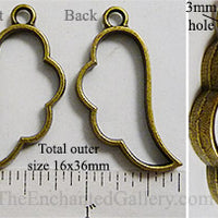 Open Back Angel Wing Frame 16mm x 36mm x 3.5mm Bronzetone