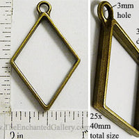 Open Back Standard Diamond Frame 25mm x 40mm x 3mm Bronzetone
