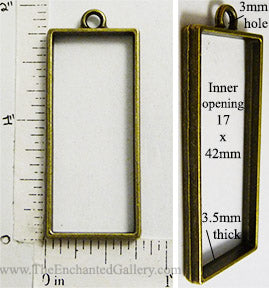 Open Back Long Rectangle Frame 17mm x 42mm x 3.5mm Bronzetone