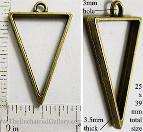 Open Back Triangle Frame 25x39mm Bronzetone