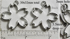 Open Back Cherry Blossom Pendant 30x32x3.5mm Silvertone