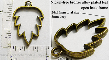 Open Back Simple Leaf Frame 24mm x 35mm x 3mm Bronzetone
