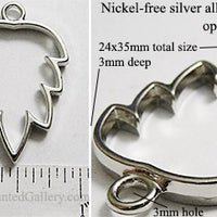 Open Back Simple Leaf Frame 24mm x 35mm x 3mm Silvertone