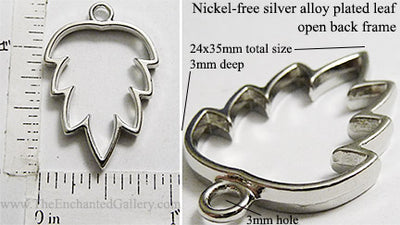 Open Back Simple Leaf Frame 24x35x3mm Silvertone