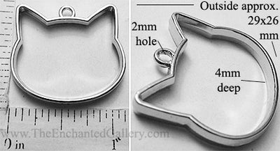 Open Back Cat Head Frame 29mm x 26mm x 4mm Silvertone