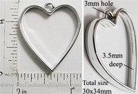 Open Back Heart Frame 30mm x 34mm x 3.5mm Silvertone