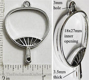 Open Back Hand Fan Frame 18mm x 27mm x 3.5mm Silvertone