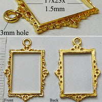 Open Back Rectangle Frame 17mm x 23mm x 1.5mm Thin Ornate Picture Goldtone