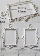 Open Back Rectangle Frame 17x23x1.5mm Thin Ornate Picture Silvertone