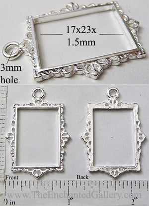 Open Back Rectangle Frame 17mm x 23mm x 1.5mm Thin Ornate Picture Silvertone