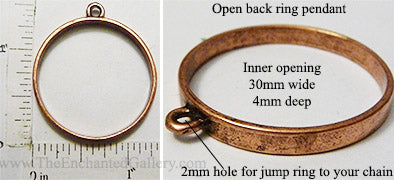 Open Back Thin Ring Frame 30mm x 4mm Coppertone