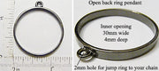 Open Back Thin Ring Frame 30mm x 4mm Gunmetal