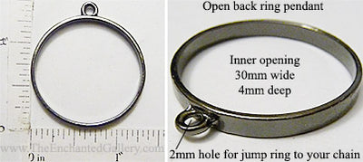 Open Back Thin Ring Frame 30x4mm Gunmetal